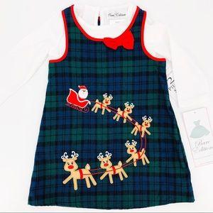 NWT Santa & Reindeer Plaid 2 Piece Dress 24Months
